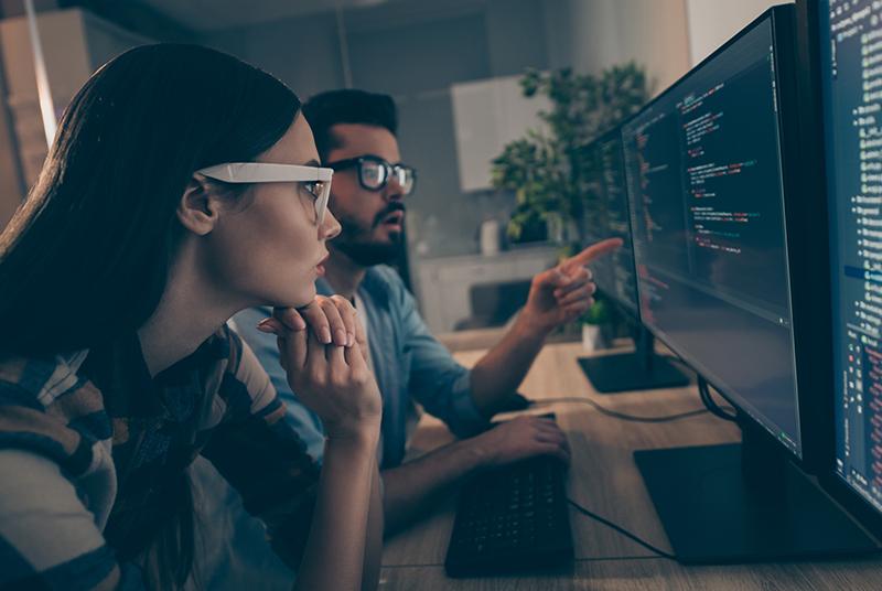software developer in office